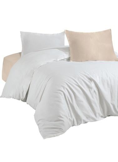 Nazik Home Naturel Lüx Beyaz Mix %100 Pamuk Saten Çift Kişilik Nevresim Takımı Bej
